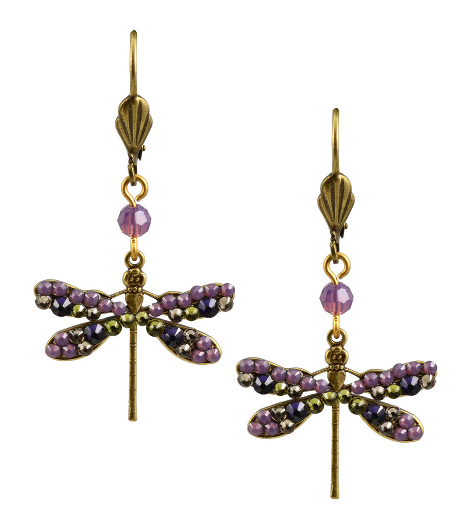 Anne Koplik Dragonfly Earrings, Antique Gold Plated Medium Dangle with Swarovski Elements Crystal