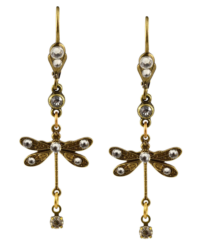 Anne Koplik Dragonfly Earrings, Antique Gold Plated Mini Dangle with Swarovski Elements Crystal