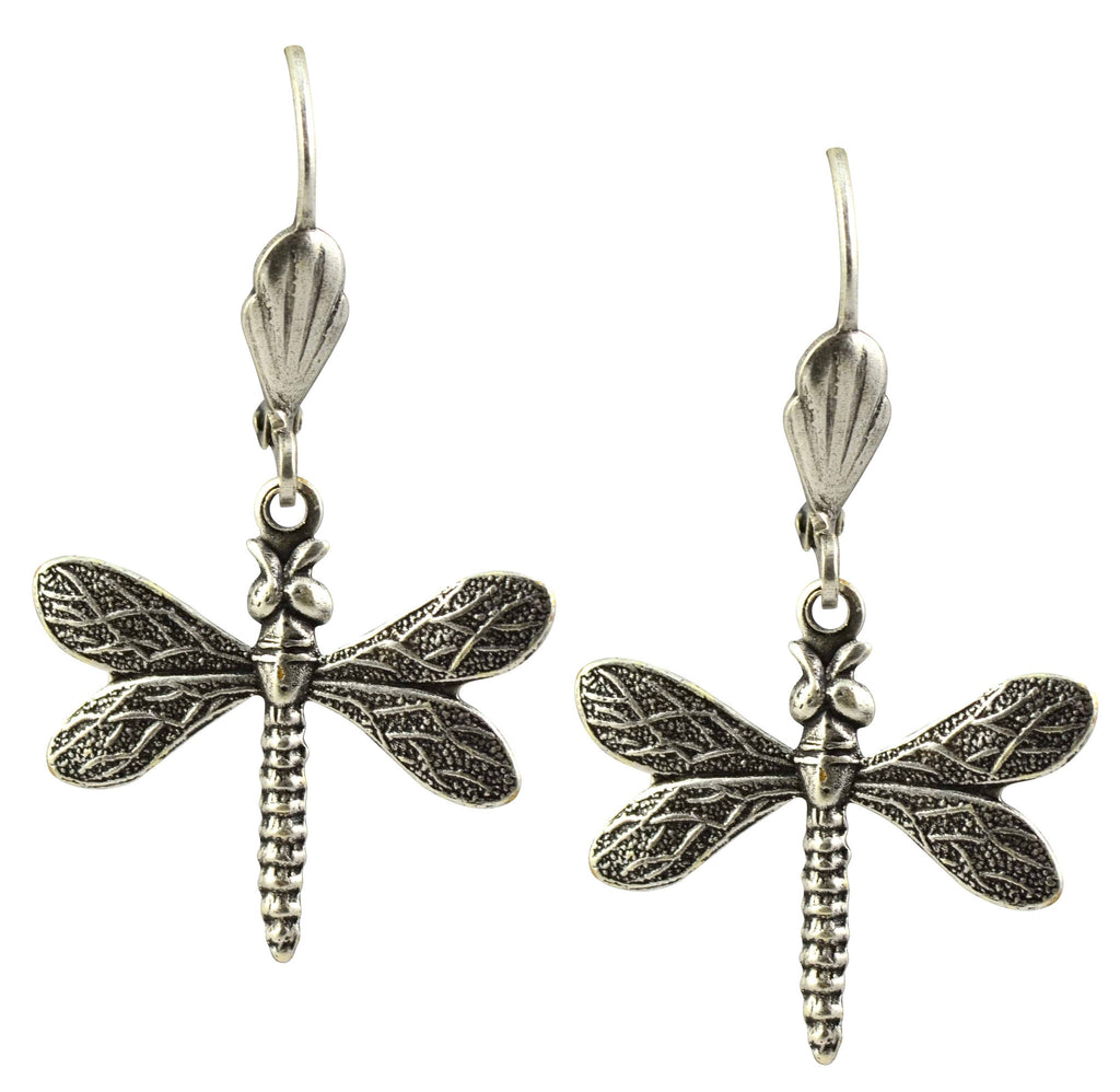 Anne Koplik Dragonfly Earrings, Antique Silver Plated Swarovski Crystal Dangle