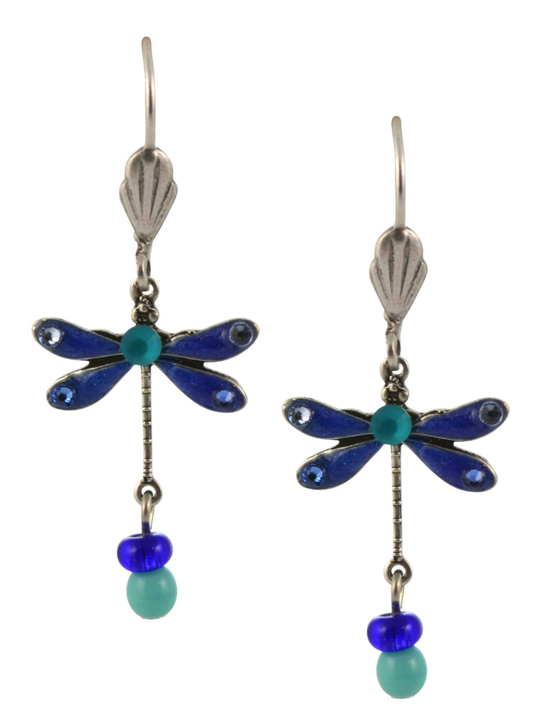 Anne Koplik Dragonfly Earrings, Blue/Mint Silver Plated Dangle with Jeweled Drops