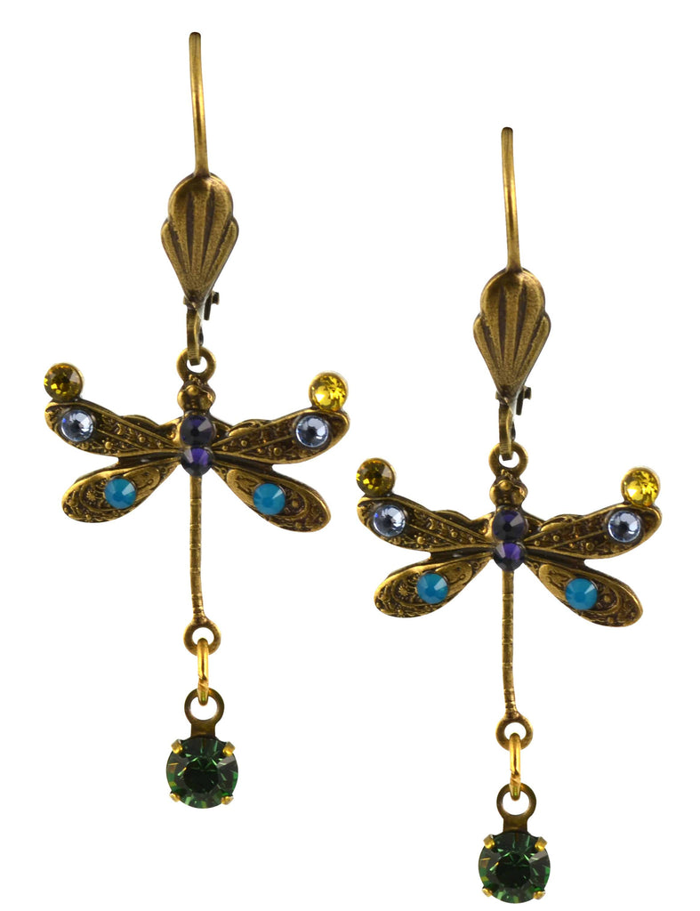 Anne Koplik Dragonfly Earrings, Jonquil/Fern Green Gold Plated Dangle with Jeweled Drop