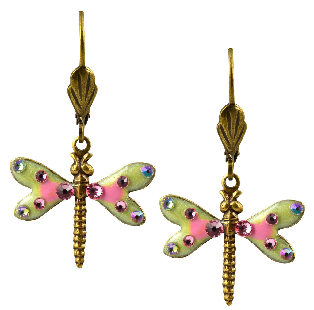 Anne Koplik Dragonfly Earrings, Light Rose Antique Gold Plated Swarovski Crystal Dangle