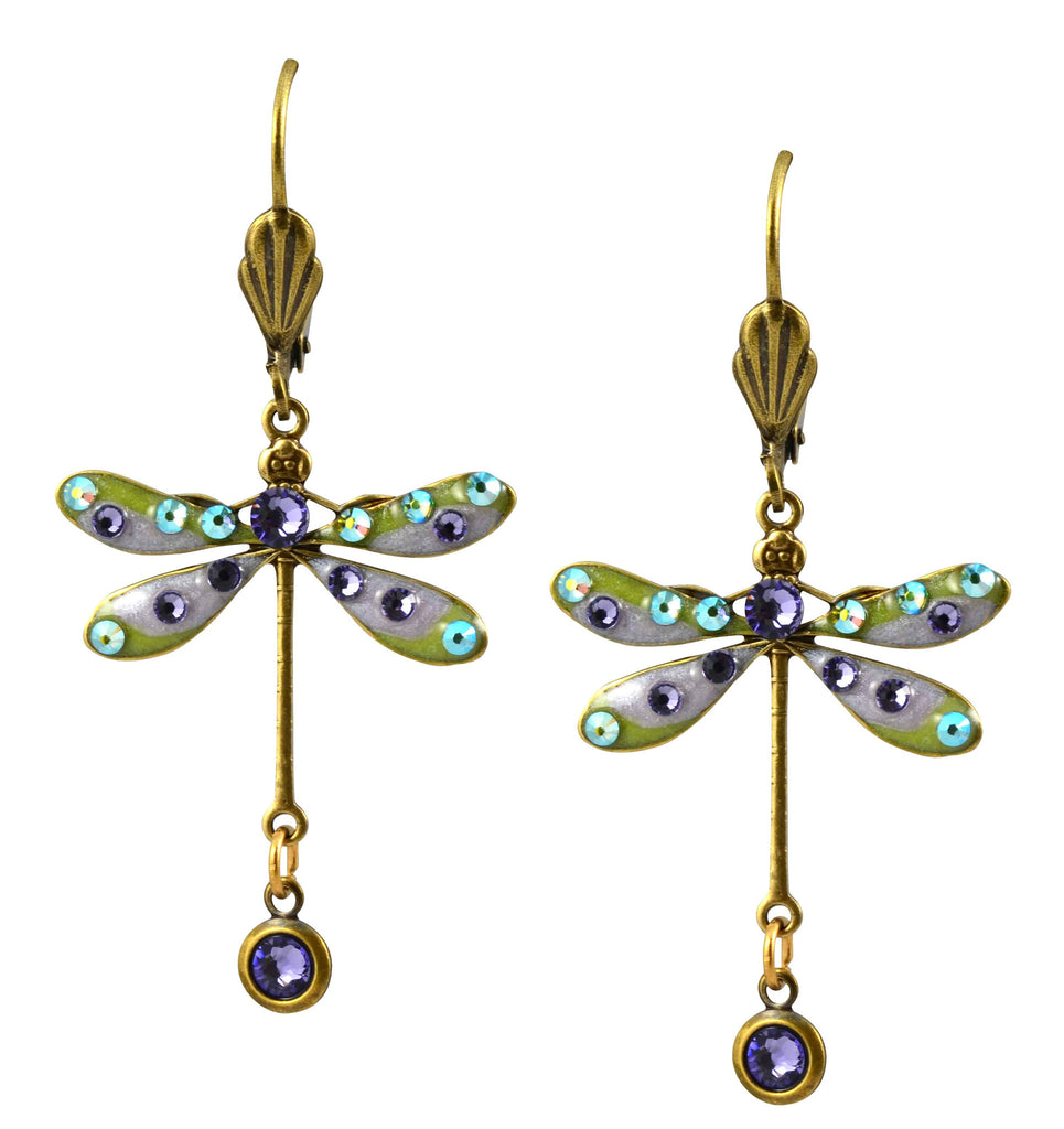 Anne Koplik Dragonfly Earrings, Medium Purple Antique Gold Plated Swarovski Crystal Dangle