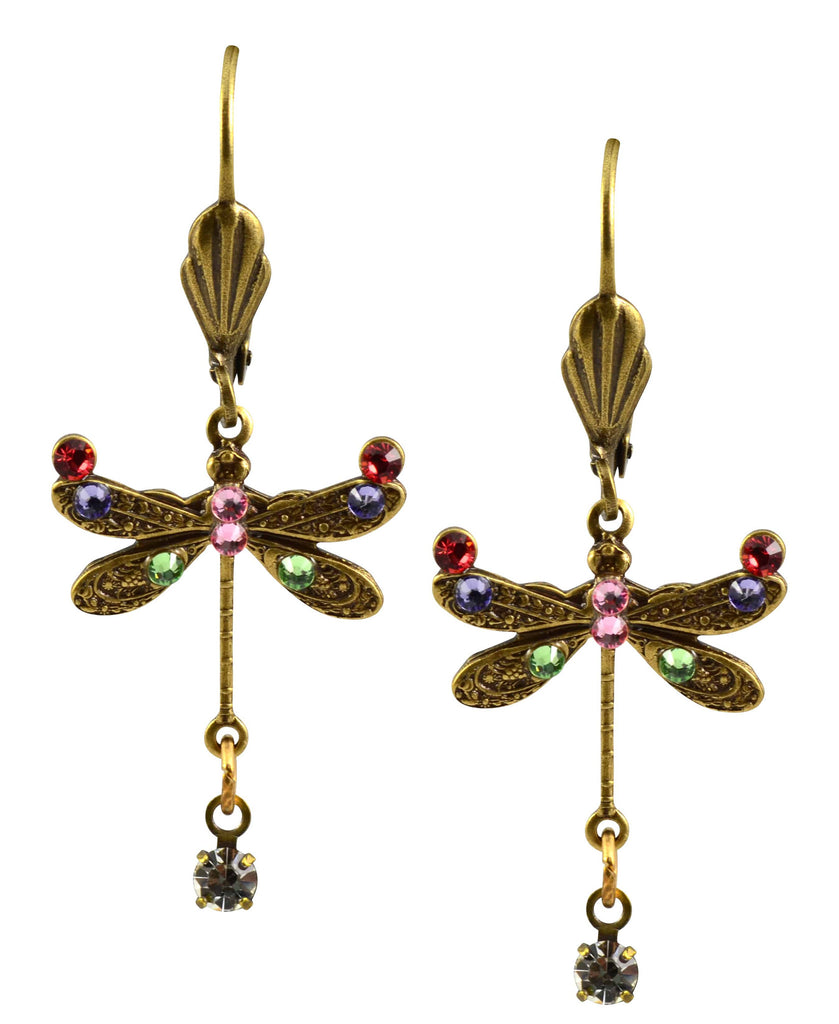 Anne Koplik Dragonfly Earrings, Multicolor Antique Gold Plated Swarovski Crystal Dangle