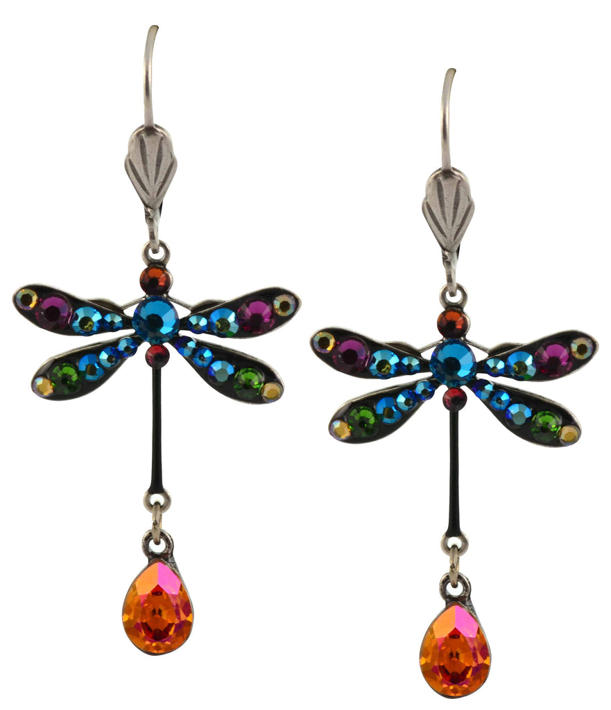 Anne Koplik Dragonfly Earrings, Multicolor Silver Plated Dangle with Swarovski Crystal Jeweled Drop