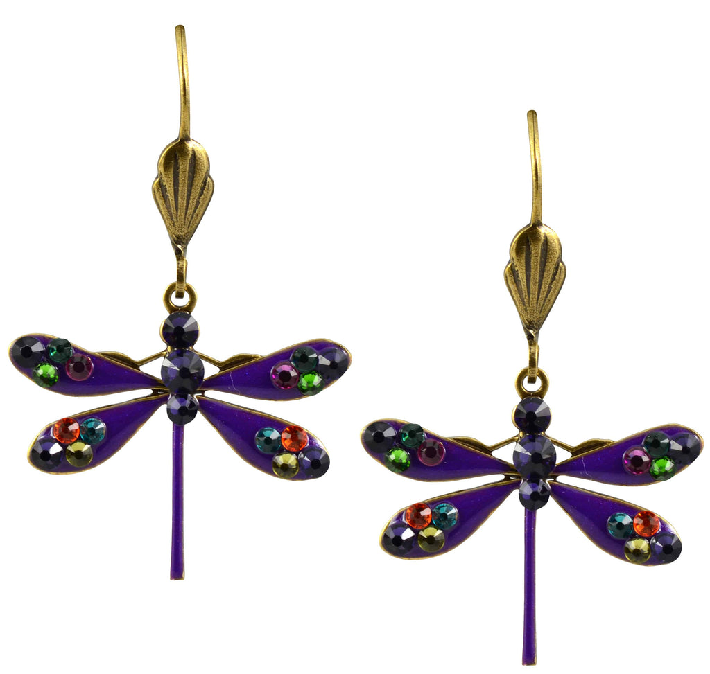 Anne Koplik Dragonfly Earrings, Purple Velvet Antique Gold Plated Swarovski Crystal Dangle