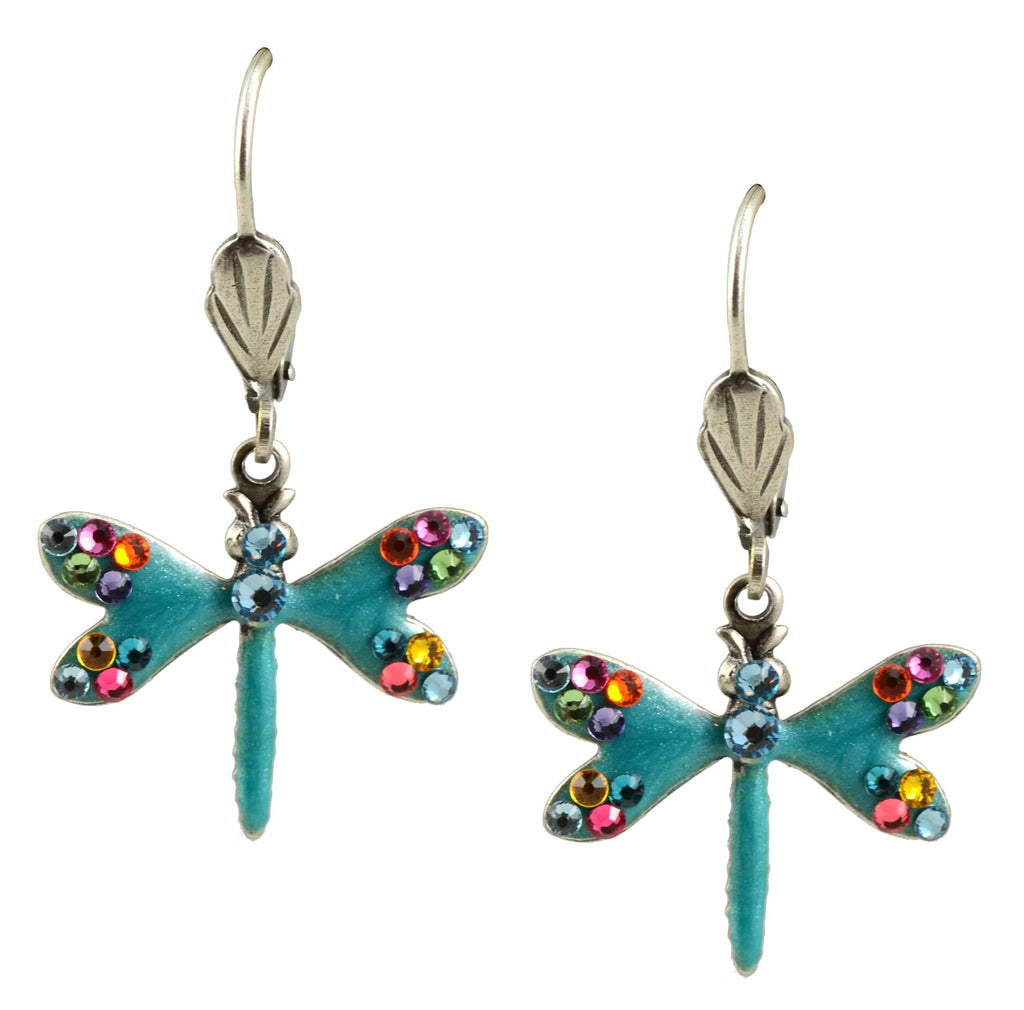 Anne Koplik Dragonfly Earrings, Silver Plated Dangle with Swarovski Elements Crystal