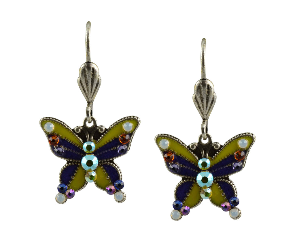 Anne Koplik Dragonfly Earrings, Silver Plated Enamel with Swarovski Elements Crystal