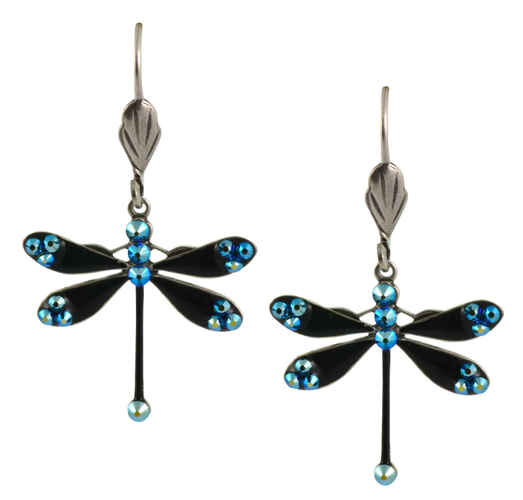 Anne Koplik Dragonfly Earrings, Teal AB Silver Plated Swarovski Crystal Dangle