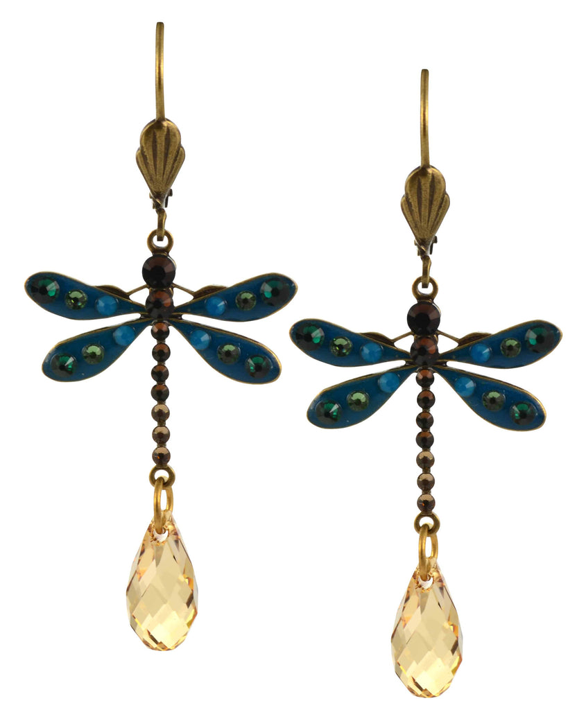 Well-liked Anne Koplik Dragonfly Earrings, Teal/Fawn Gold Plated Dangle with  XX19