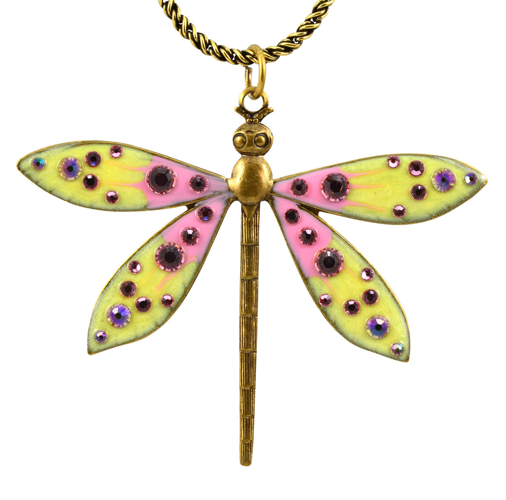 Anne Koplik Dragonfly Necklace, Antique Gold Plated Filigree with Swarovski Elements Crystal