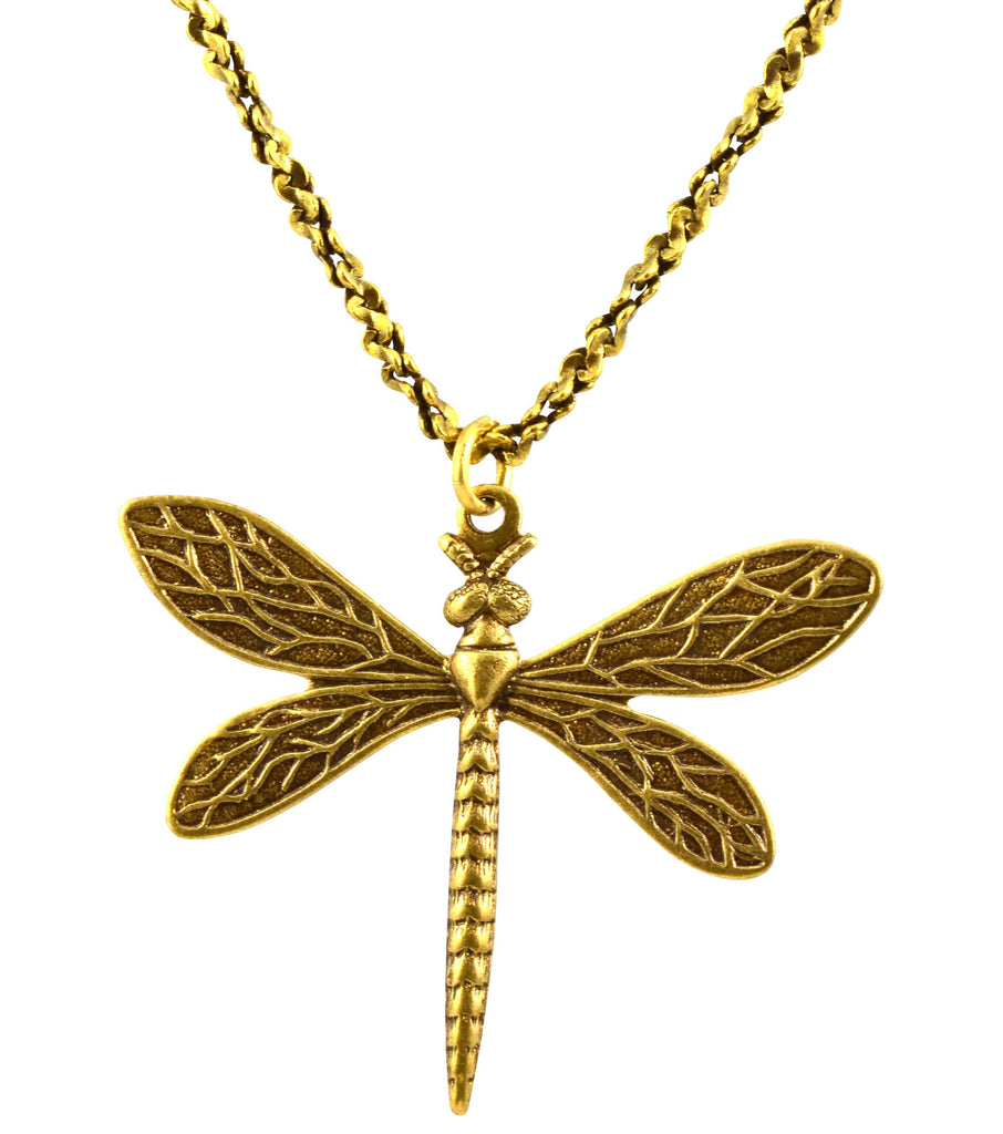 Anne Koplik Dragonfly Necklace, Antique Gold Plated Filigree