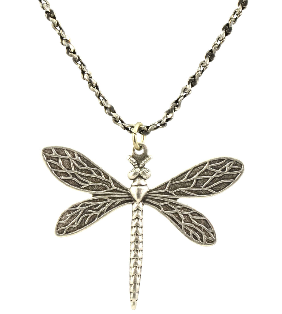 Anne Koplik Dragonfly Necklace, Antique Silver Plated Filigree