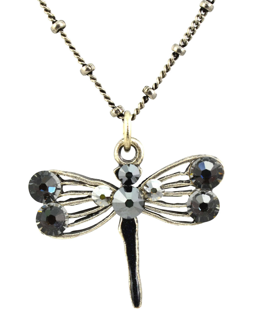 Anne Koplik Dragonfly Necklace, Antique Silver Plated Filigree with Swarovski Crystal