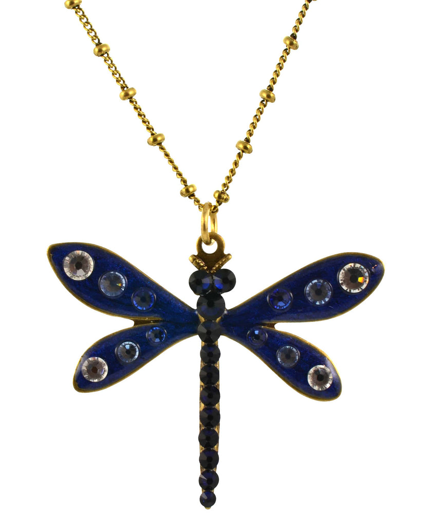 Anne Koplik Dragonfly Necklace, Clear/Indigo Gold Plated Pendant with Swarovski Elements Crystal