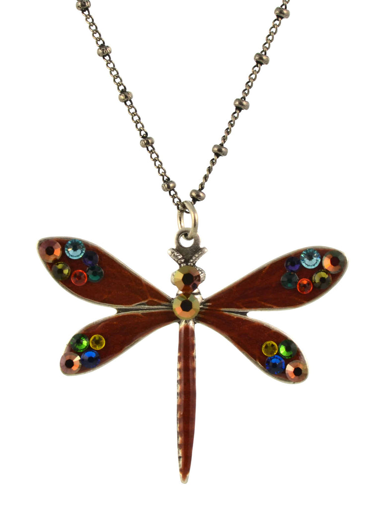Anne Koplik Dragonfly Necklace, Orange/Blue Silver Plated Pendant with Swarovski Elements Crystal