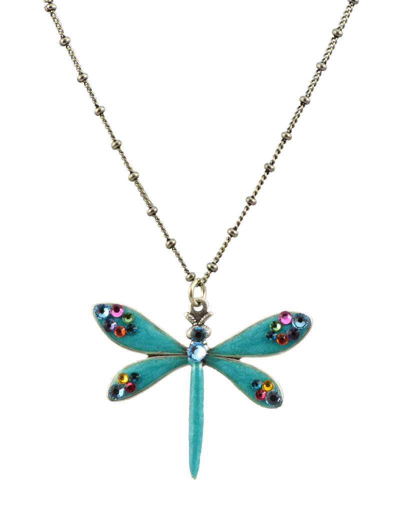 Anne Koplik Dragonfly Necklace, Silver Plated Pendant with Swarovski Crystal