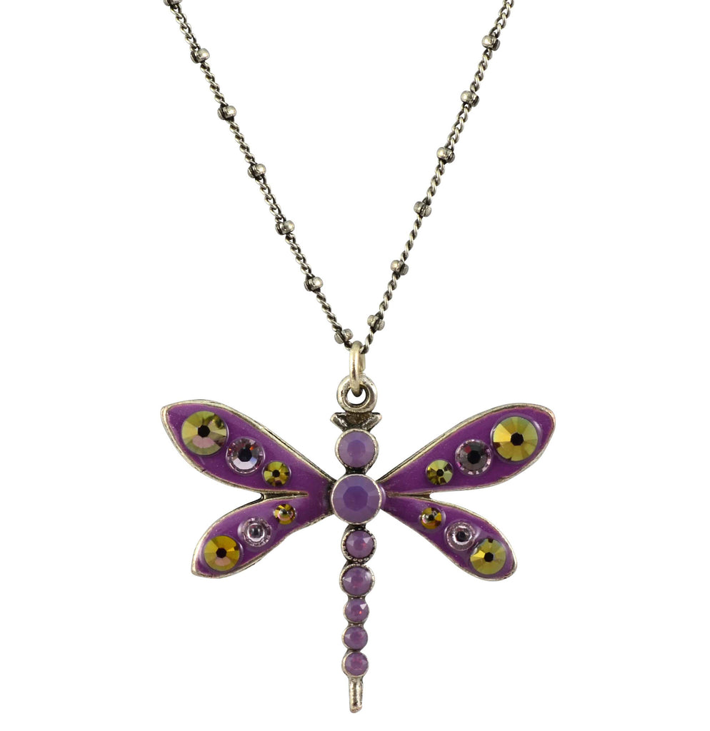 Anne Koplik Dragonfly Necklace, Silver Plated Swarovski Crystal Square, 16+2