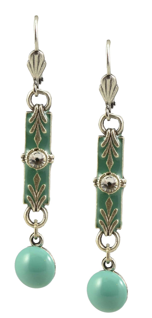 Anne Koplik Drop Earrings, Antique Silver Plated Bar with Swarovski Elements Crystal