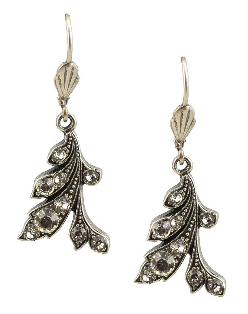 Anne Koplik Drop Earrings, Antique Silver Curly Vines with Swarovski Elements Crystal