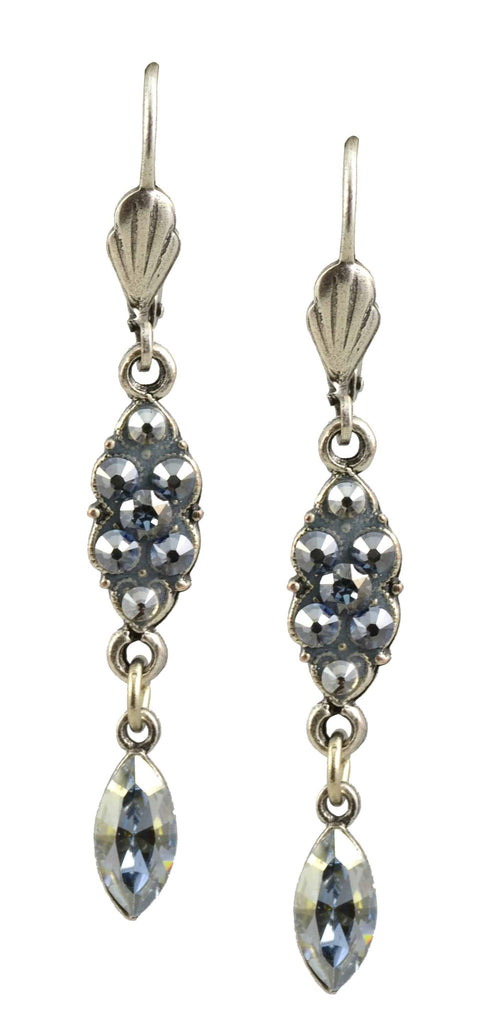 Anne Koplik Drop Earrings, Antique Silver Plated Eye with Swarovski Elements Crystal