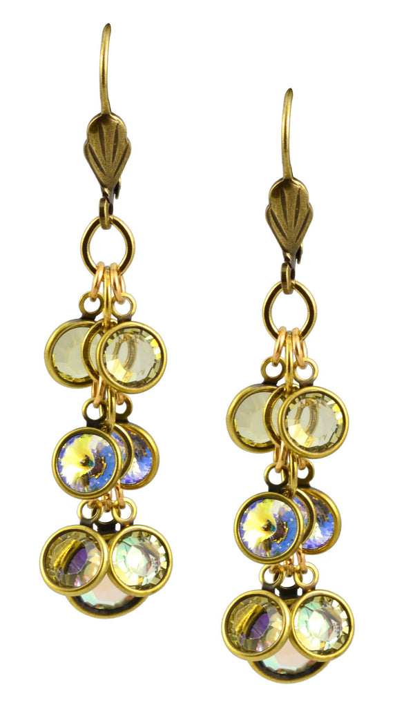 Anne Koplik Earrings, Antique Gold Plated Bubbles Dangle with Swarovski Elements Crystal