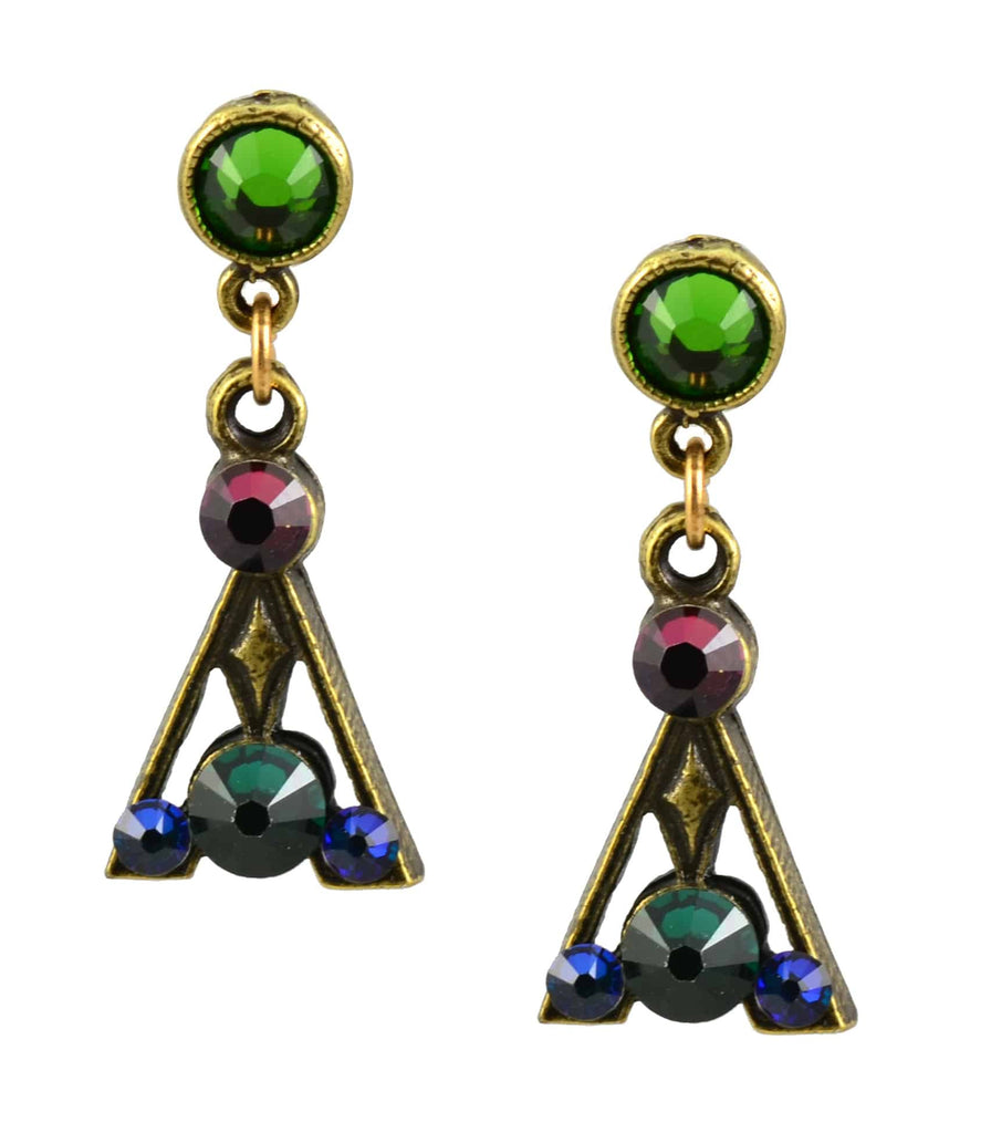 Anne Koplik Earrings, Antique Gold Plated Fancy Triangle Post with Swarovski Elements Crystal