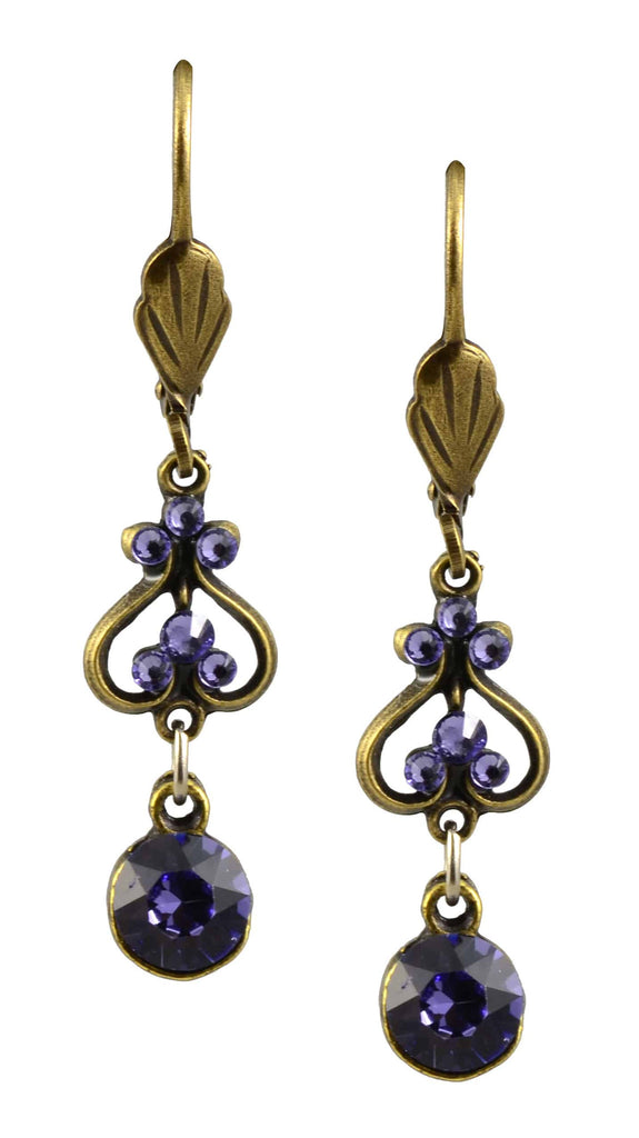 Anne Koplik Earrings, Antique Gold Plated Up and Down Heart Dangle with Swarovski Elements Crystal