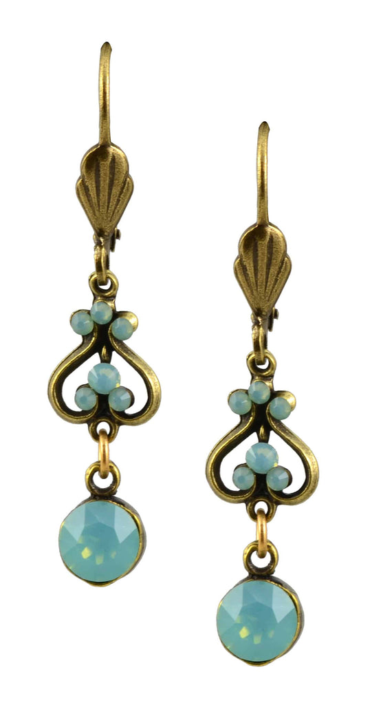 Anne Koplik Earrings Antique Gold Plated Up/Down Heart Dangle with Small Swarovski Elements Crystal