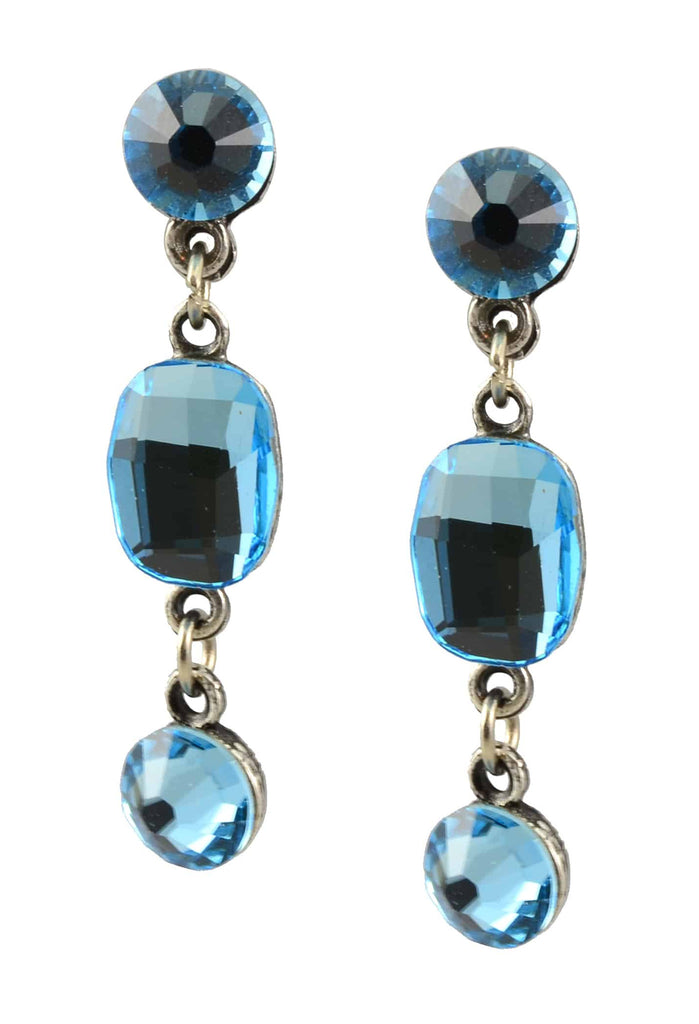 Anne Koplik Earrings, Antique Silver Plated Dangle Post with Swarovski Elements Crystal
