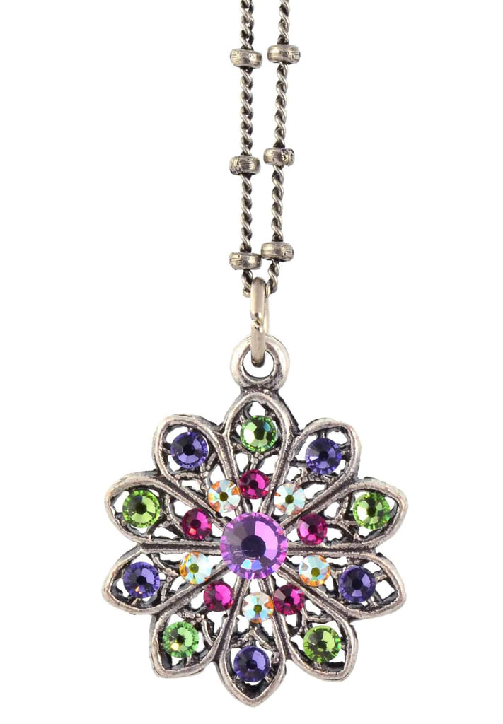 Anne Koplik Flower Pendant Necklace, Silver Plated with Swarovski Crystals, 18 NSG406MUL