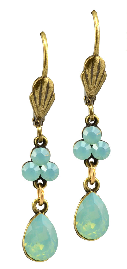 Anne Koplik Gold Plated Jeweled Clover with Teardrop Dangle Earrings with Swarovski Elements Crystal