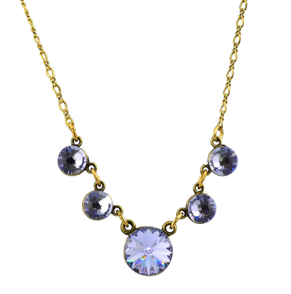 Anne Koplik Necklace, Antique Gold Plated 5 Faceted Stones with Swarovski Elements Crystal