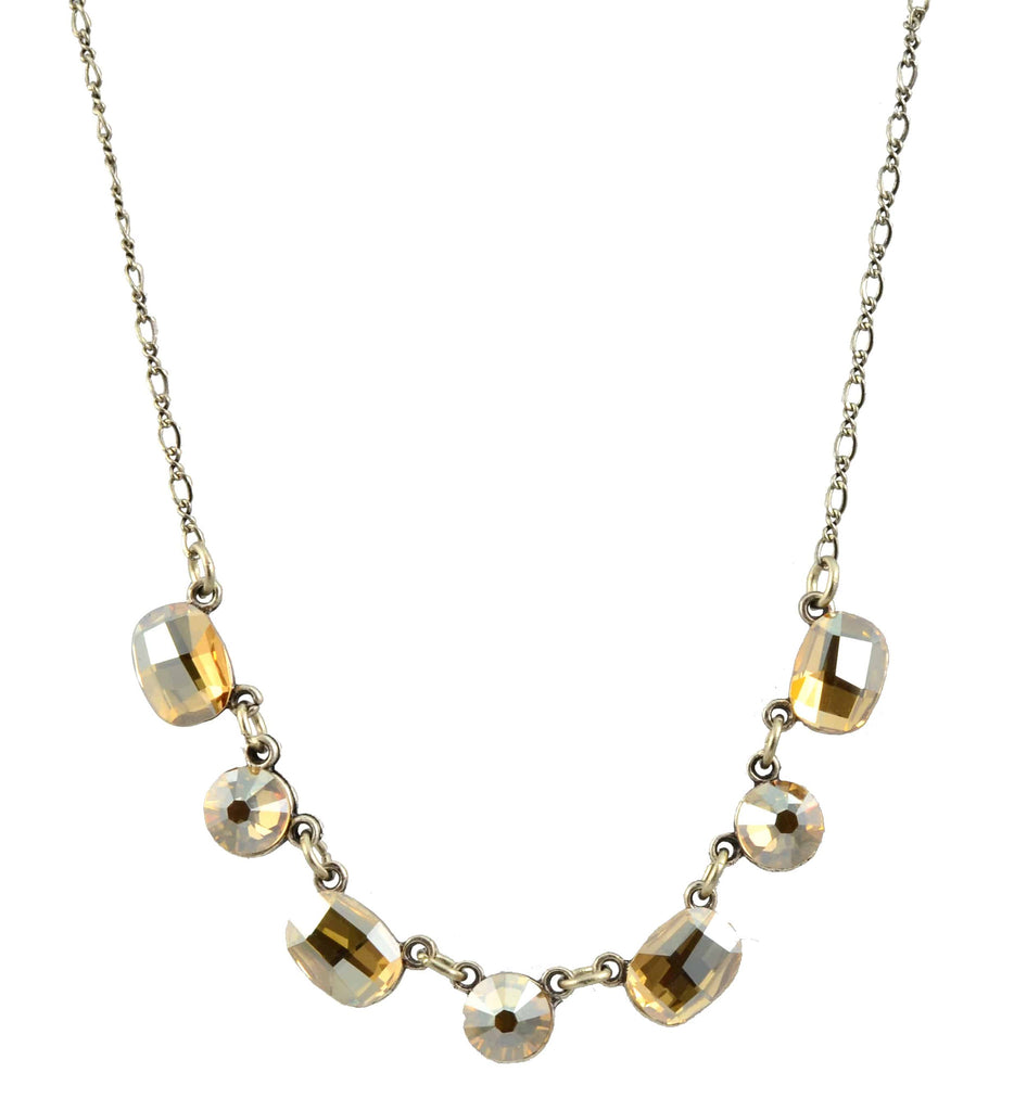 Anne Koplik Necklace, Silver Plated with Faceted Swarovski Crystals