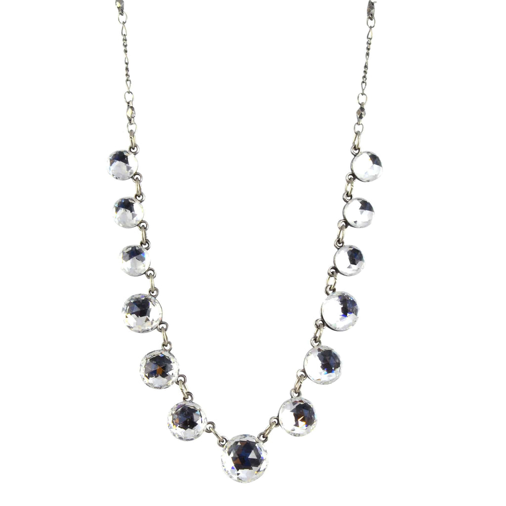 Anne Koplik Necklace, Silver Plated Round Bubbles with Swarovski Elements Crystals