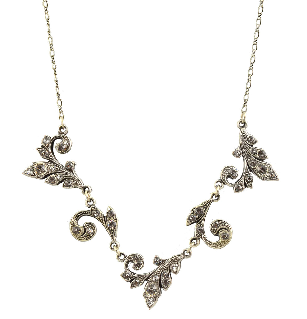 Anne Koplik Necklace, Silver Plated Swirly Ivy with Swarovski Elements Crystals