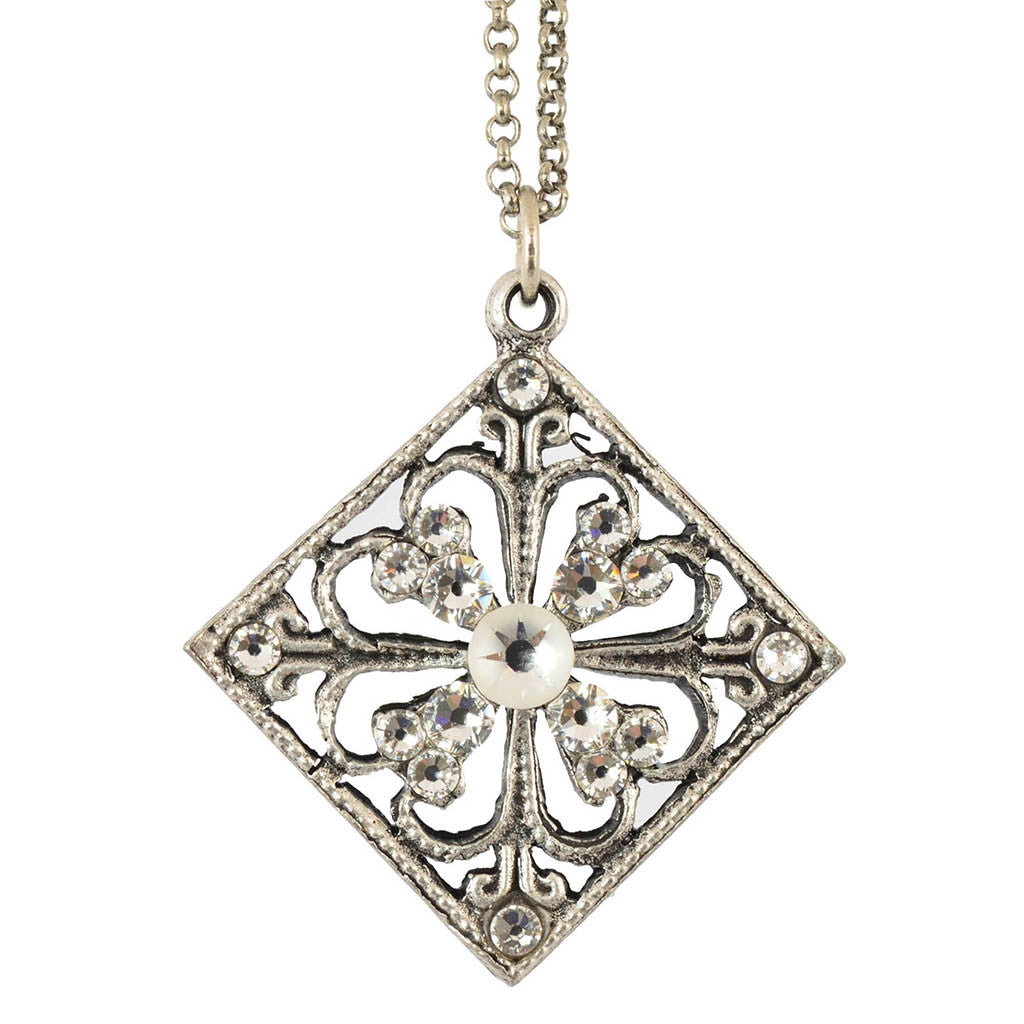 Anne Koplik Open Square Pendant Necklace, Silver Plated