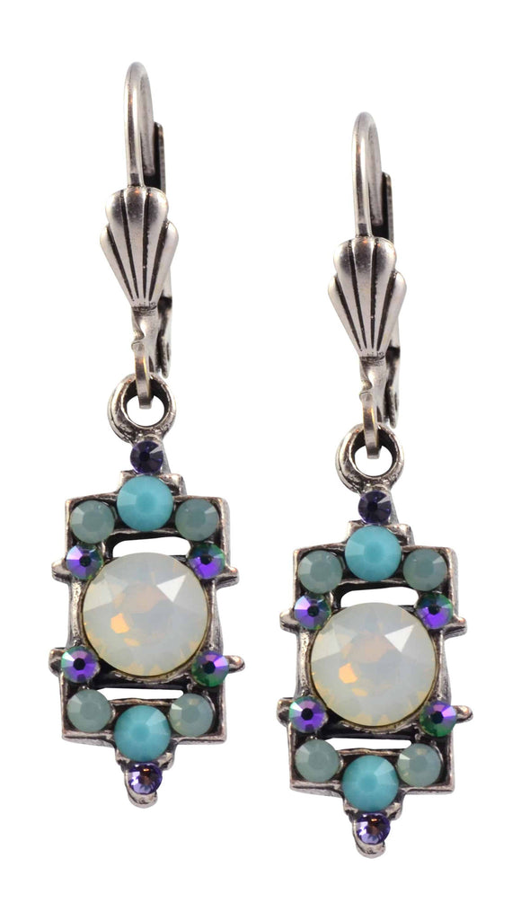 Anne Koplik Rectangle Earrings, Silver Plated with Green and White Swarovski Crystal ES3083WOP