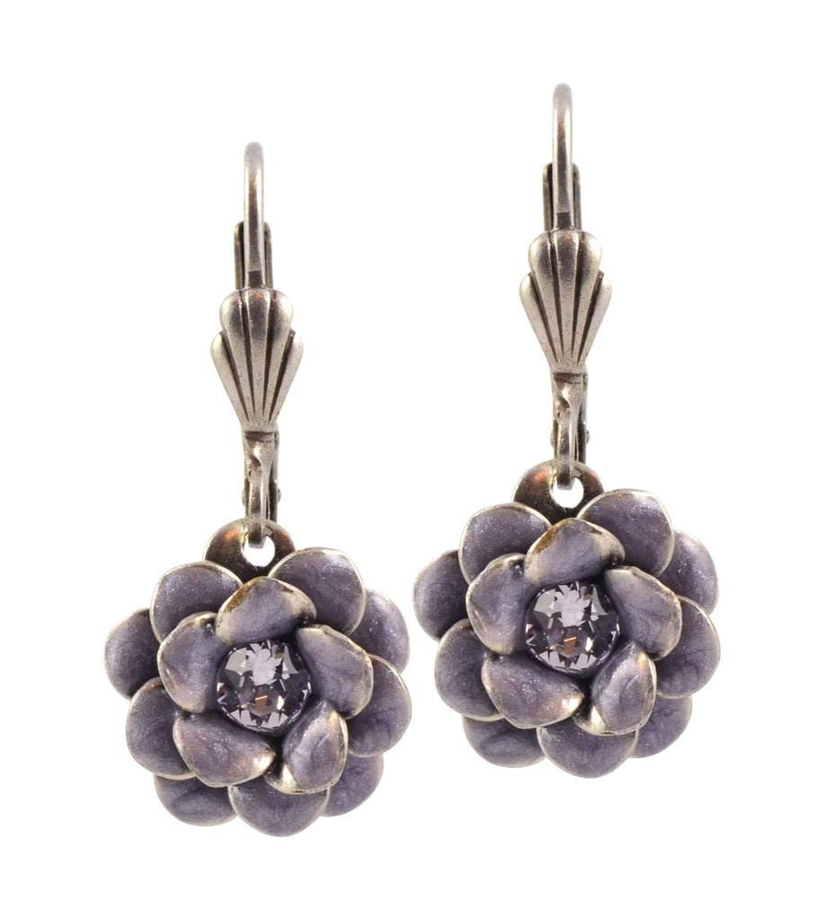 Anne Koplik Rose Flower Earrings, Silver Plated with Swarovski Crystal ES3081GRY