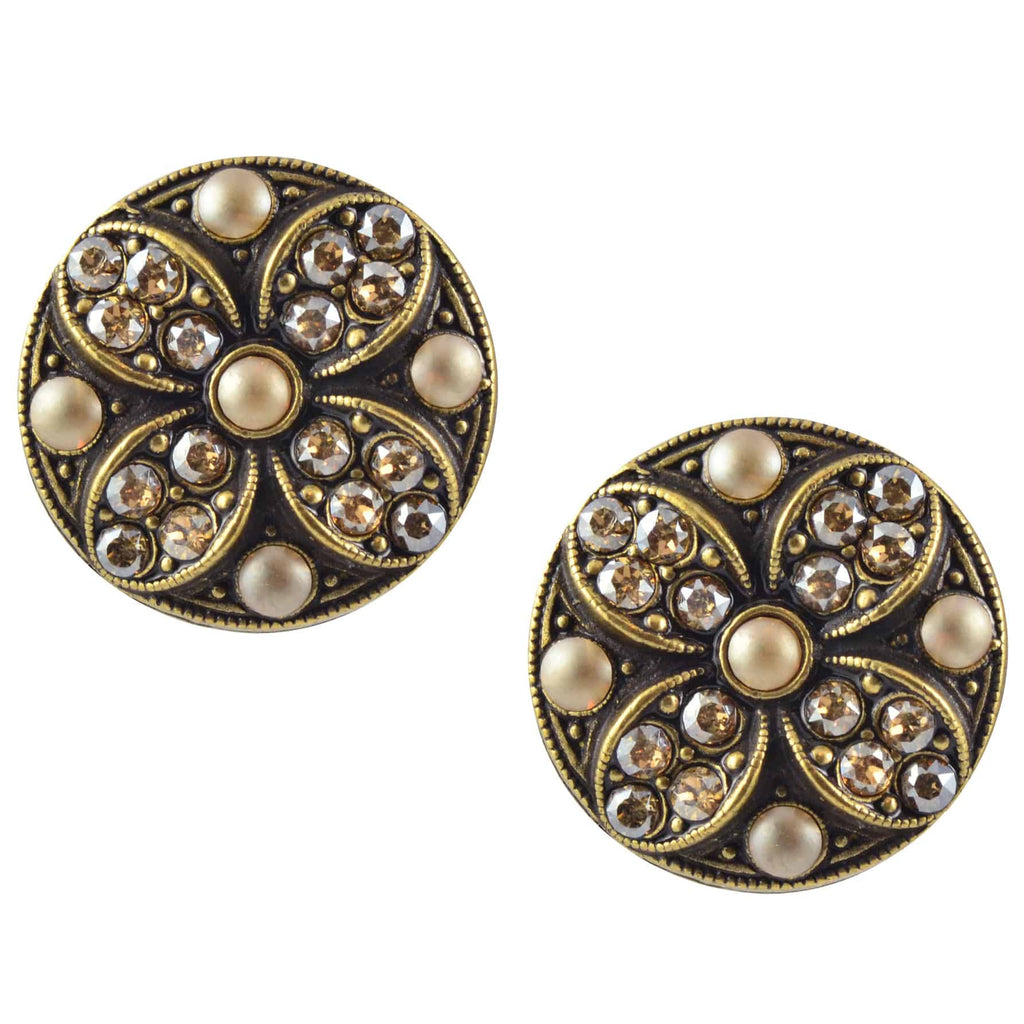 Anne Koplik Round Flower Earrings, Antique Gold Plated with Swarovski Crystal ER4565CGS