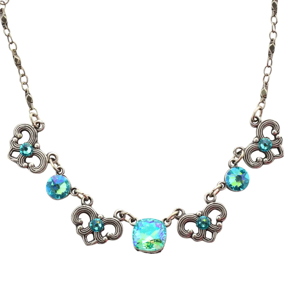 Anne Koplik Rounded Square Necklace, Silver Plated with Blue Swarovski Crystals, 18 NS3087LTU