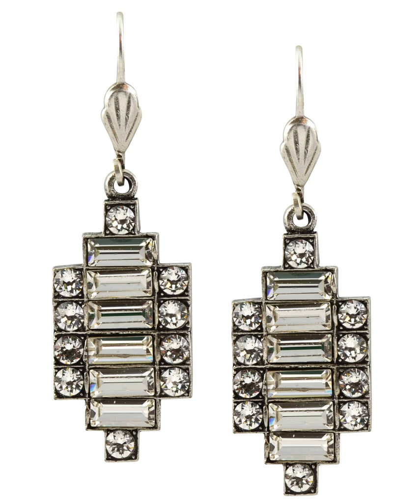 Anne Koplik Silver Plated Swarovski Crystal Art Deco Dangle Earrings