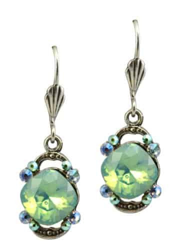 Anne Koplik Silver Plated Dangle Earrings with Faceted Stone With Bookends with Swarovski Crystal
