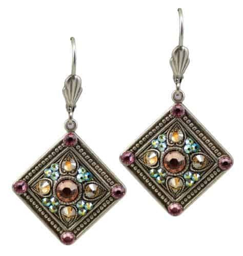 Anne Koplik Silver Plated Diamond Shaped Dangle Earrings with Textured Studs with Swarovski Crystal
