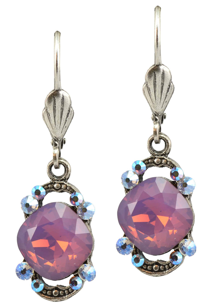 Anne Koplik Silver Plated Faceted Stone with Bookend Dangle Earrings with Swarovski Elements Crystal
