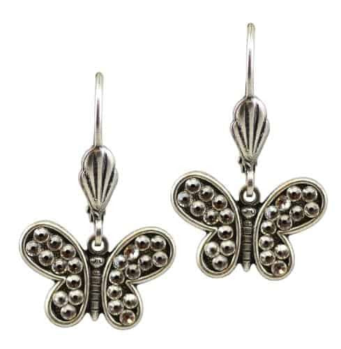 Anne Koplik Silver Plated Mini Open Wing Crystal Butterfly Dangle Earrings with Swarovski Crystal
