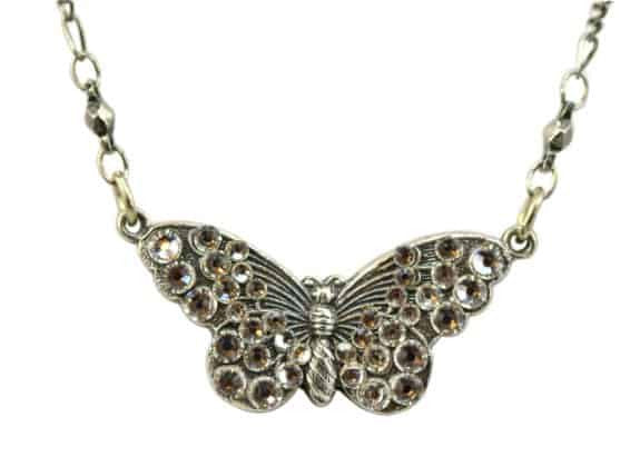 Anne Koplik Silver Plated Mini Open Wing Butterfly Pendant Necklace with Swarovski Elements Crystal