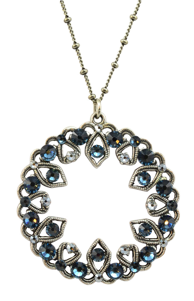 Anne Koplik Silver Plated Open Multi-Stone Wreath Pendant Necklace with Swarovski Elements Crystal