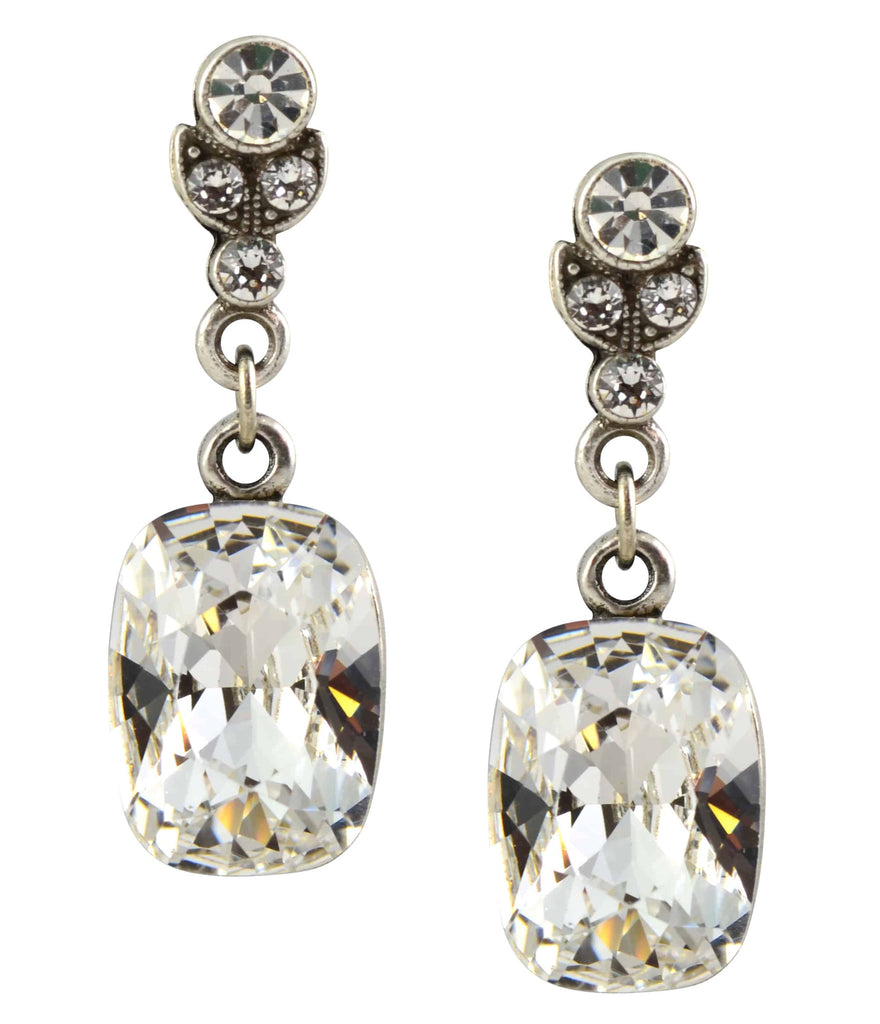 Anne Koplik Silver Plated Swarovski Crystal Oval Post Dangle Earrings