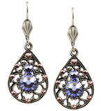 Anne Koplik Silver Plated Swarovski Crystal Teardrop Dangle Earrings